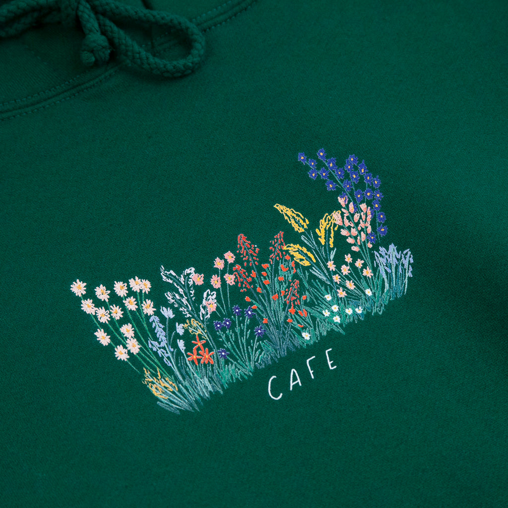 Skateboard Cafe Flower Bed Hoodie in Forest Green - Print