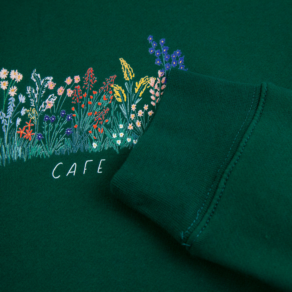 Skateboard Cafe Flower Bed Hoodie in Forest Green - Cuff