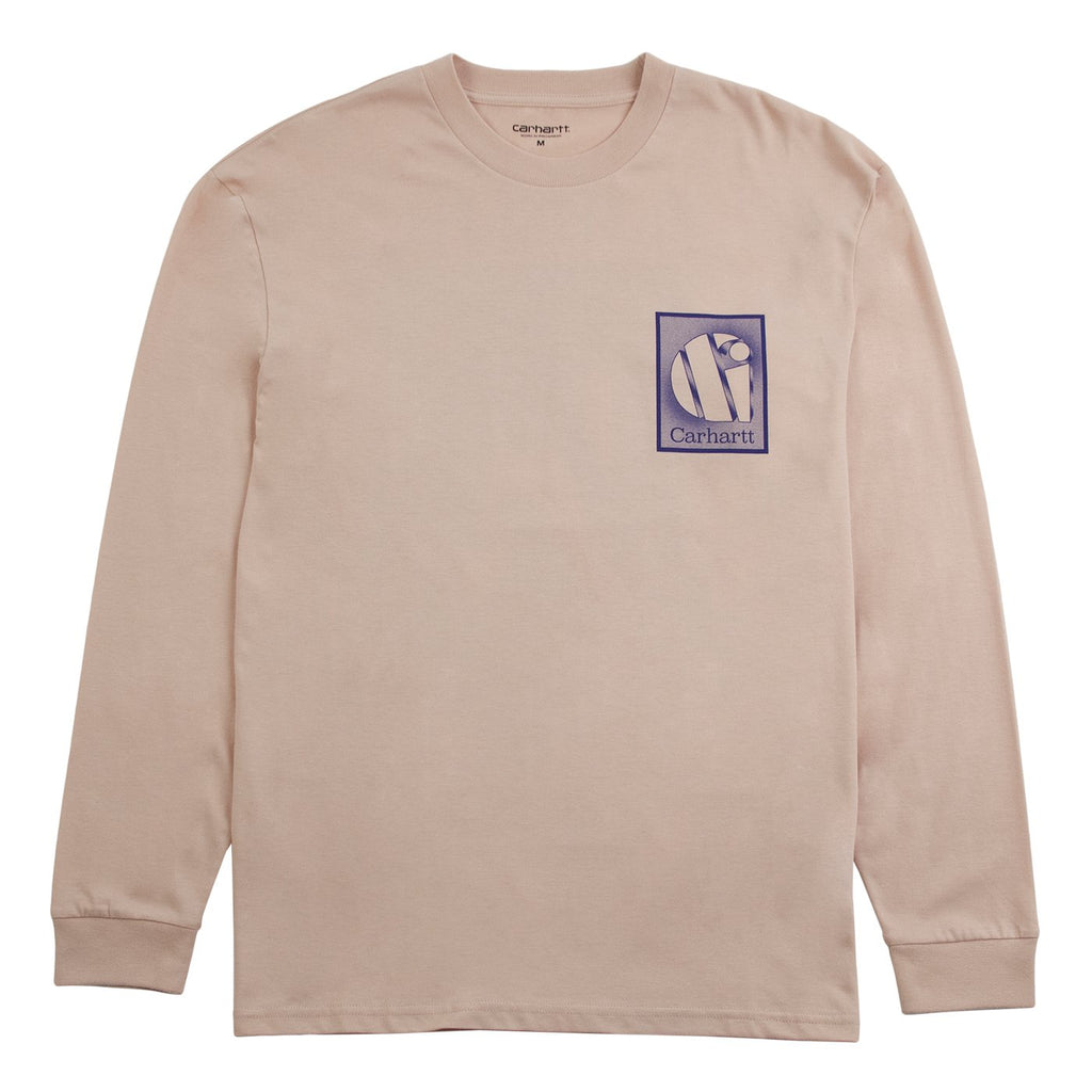Carhartt WIP L/S Foundation T Shirt in Powdery / Blue - Front