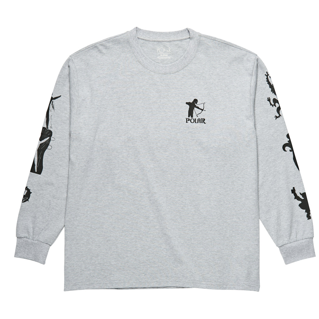 Polar Skate Co L/S Gnarhammer T Shirt in Sport Grey - Front