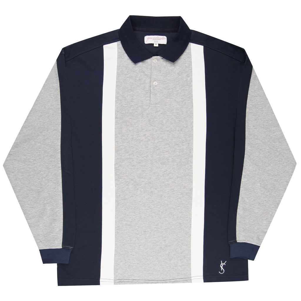 Yardsale L/S Faded Glory Polo - Athletic Grey / Navy / White - Front