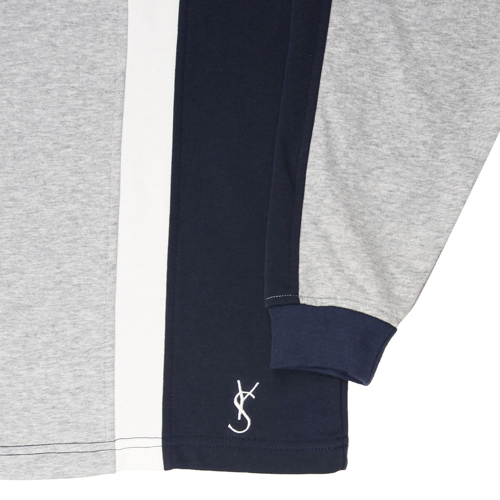 Yardsale L/S Faded Glory Polo - Athletic Grey / Navy / White - Branding