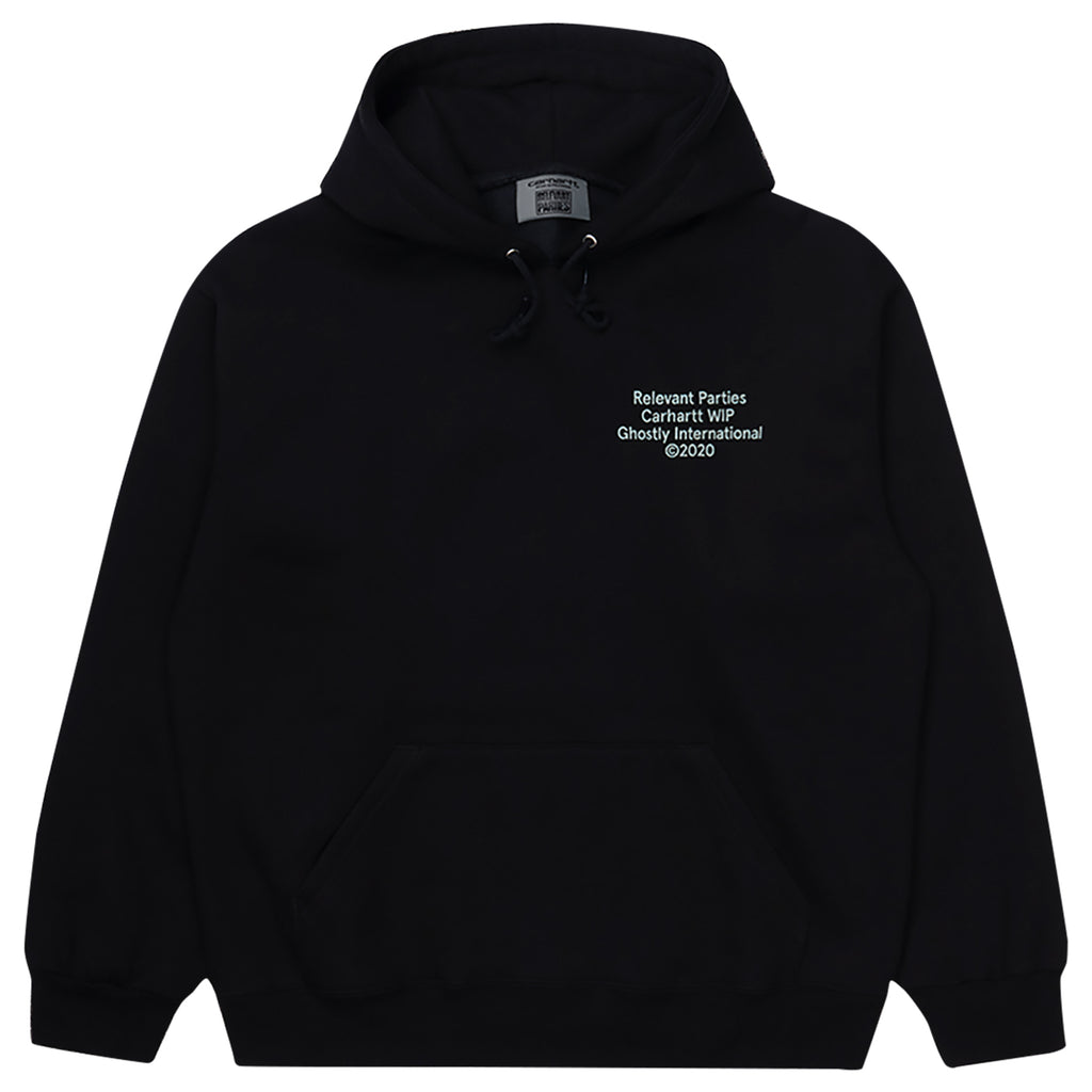 Carhartt WIP Relevant Parties Hooded Ghostly Sweat Black - Front
