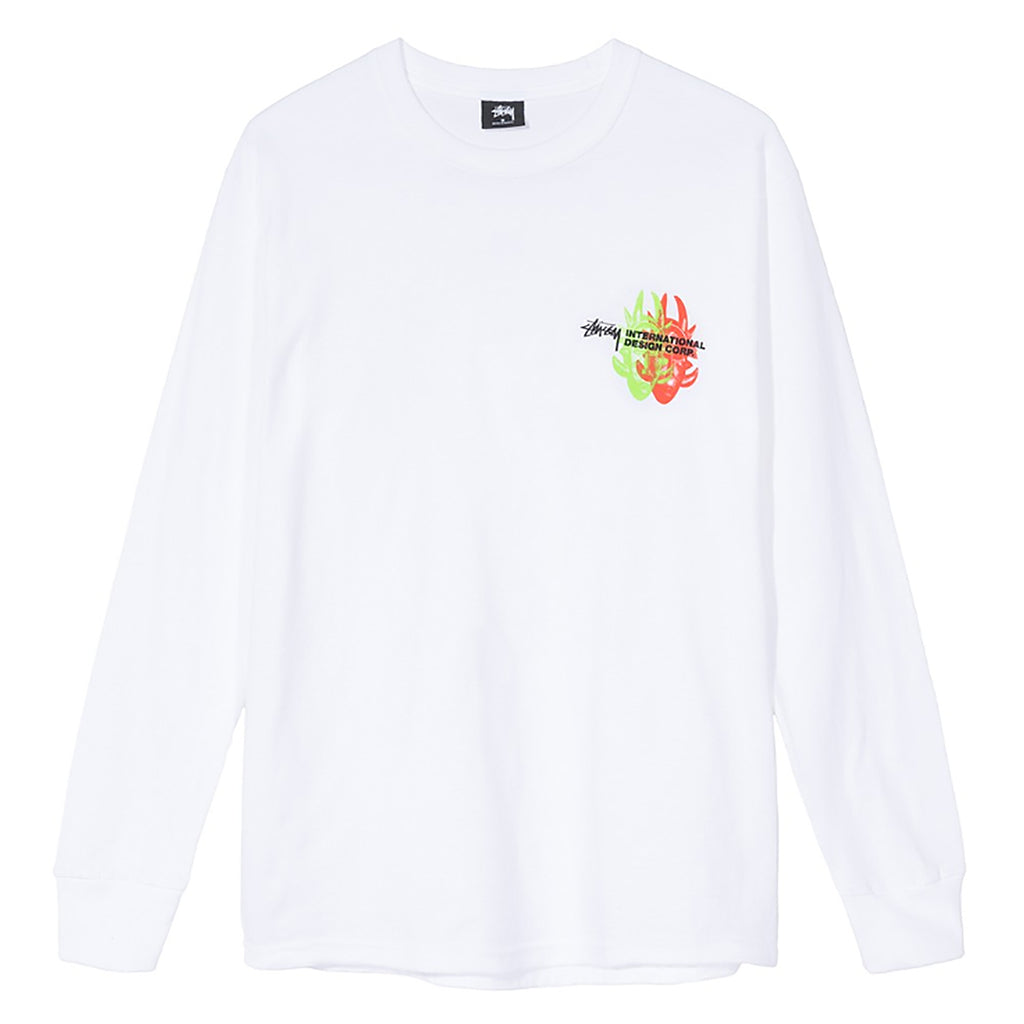 Stussy L/S Great Future T Shirt in White - Front