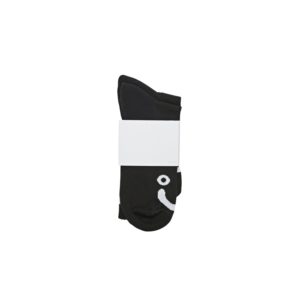 Polar Skate Co Happy Sad Socks in Black - Packaged