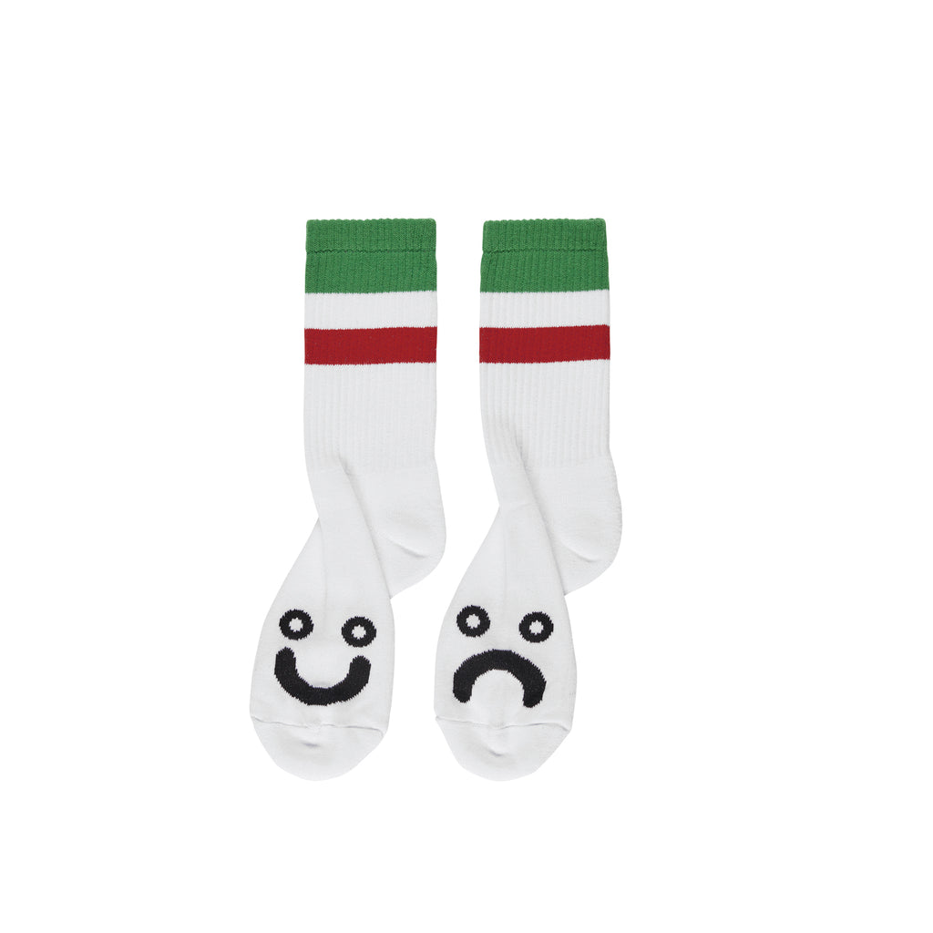 Polar Skate Co Happy Sad Striped Socks in White / Green