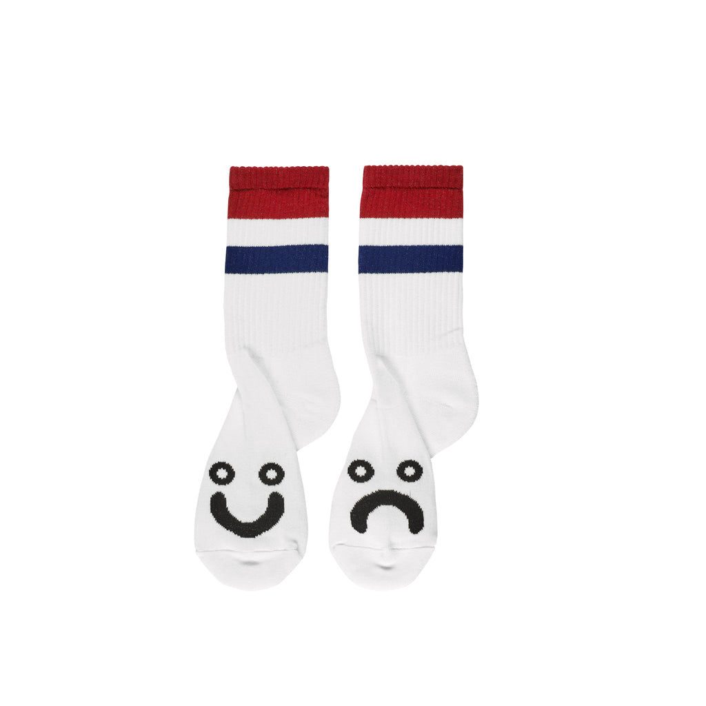 Polar Skate Co Happy Sad Striped Socks in White / Red