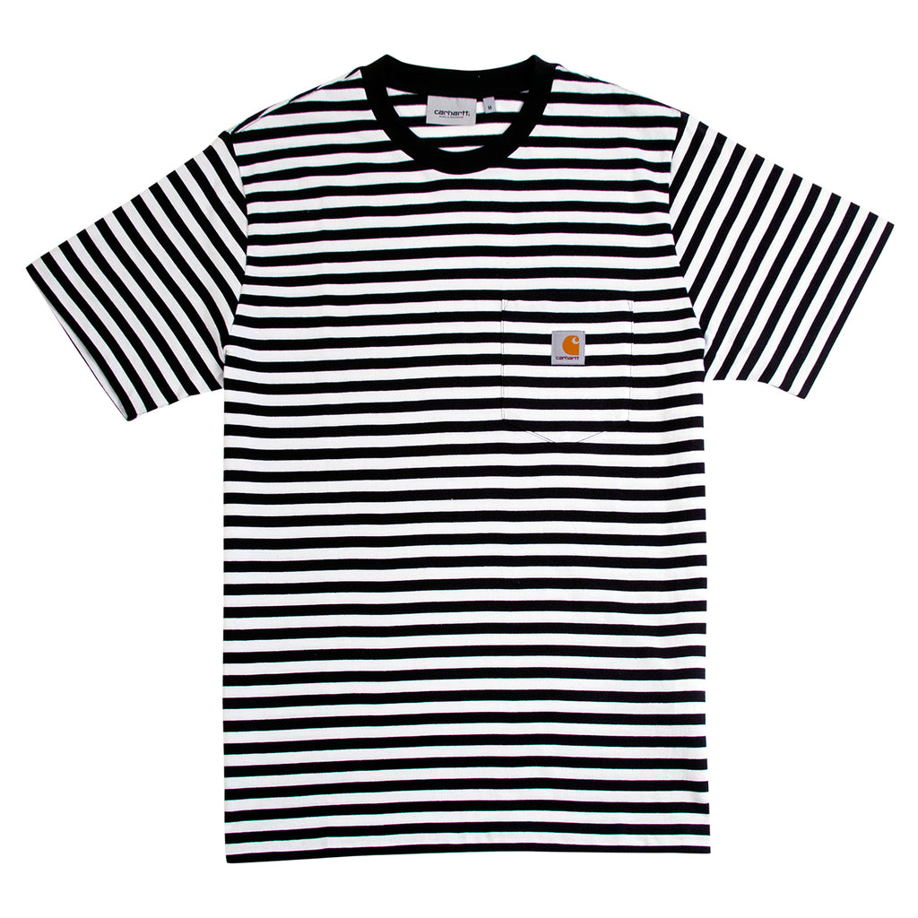 Carhartt WIP Haldon Stripe Pocket T Shirt in Black / White