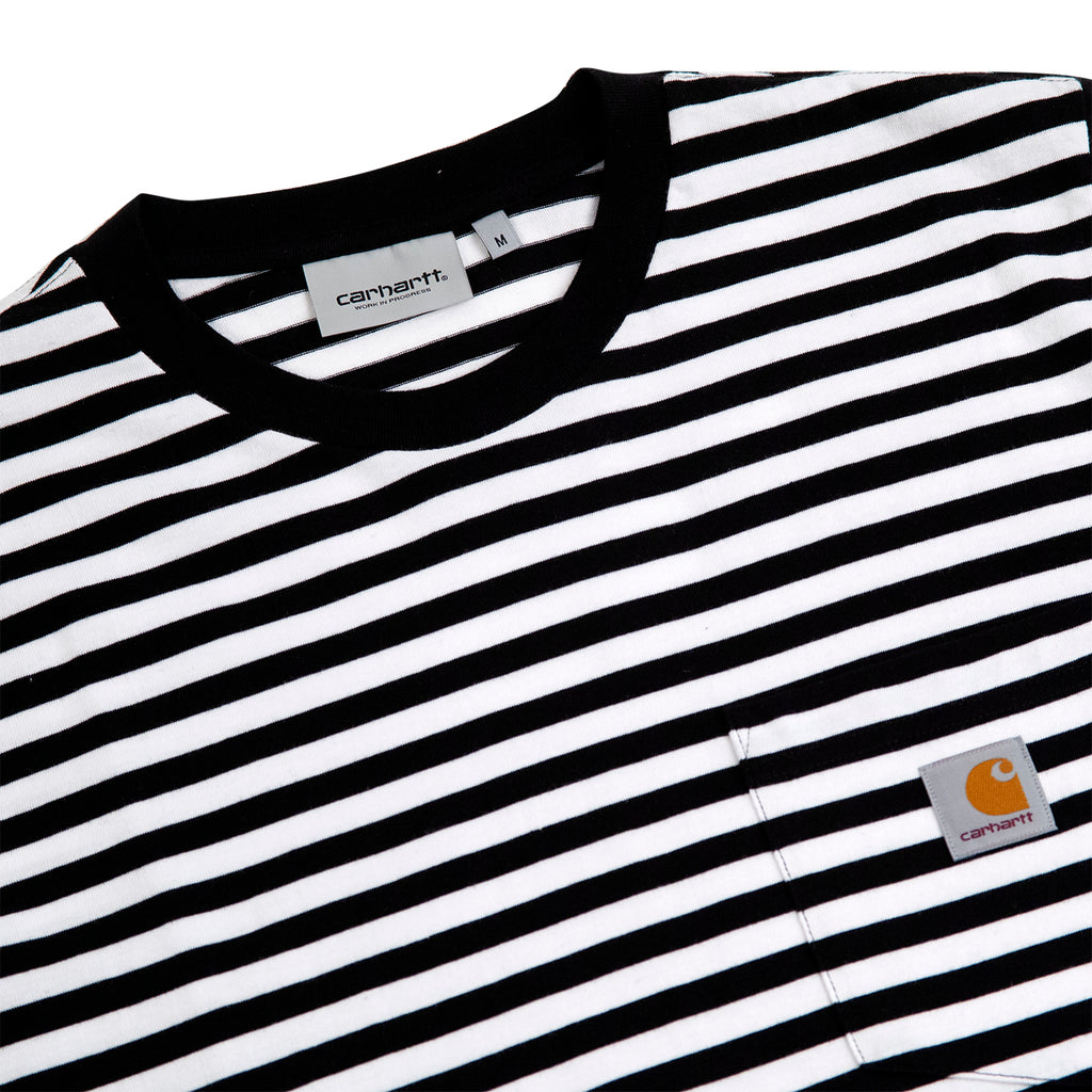 Carhartt WIP Haldon Stripe Pocket T Shirt in Black / White - Detail
