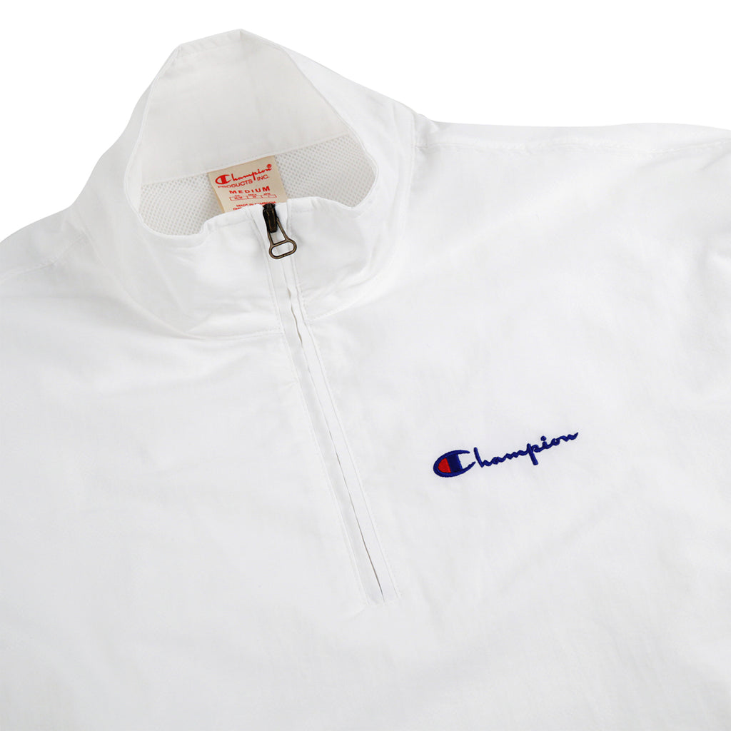 Champion Reverse Weave Half Zip Track Top in White - Detail