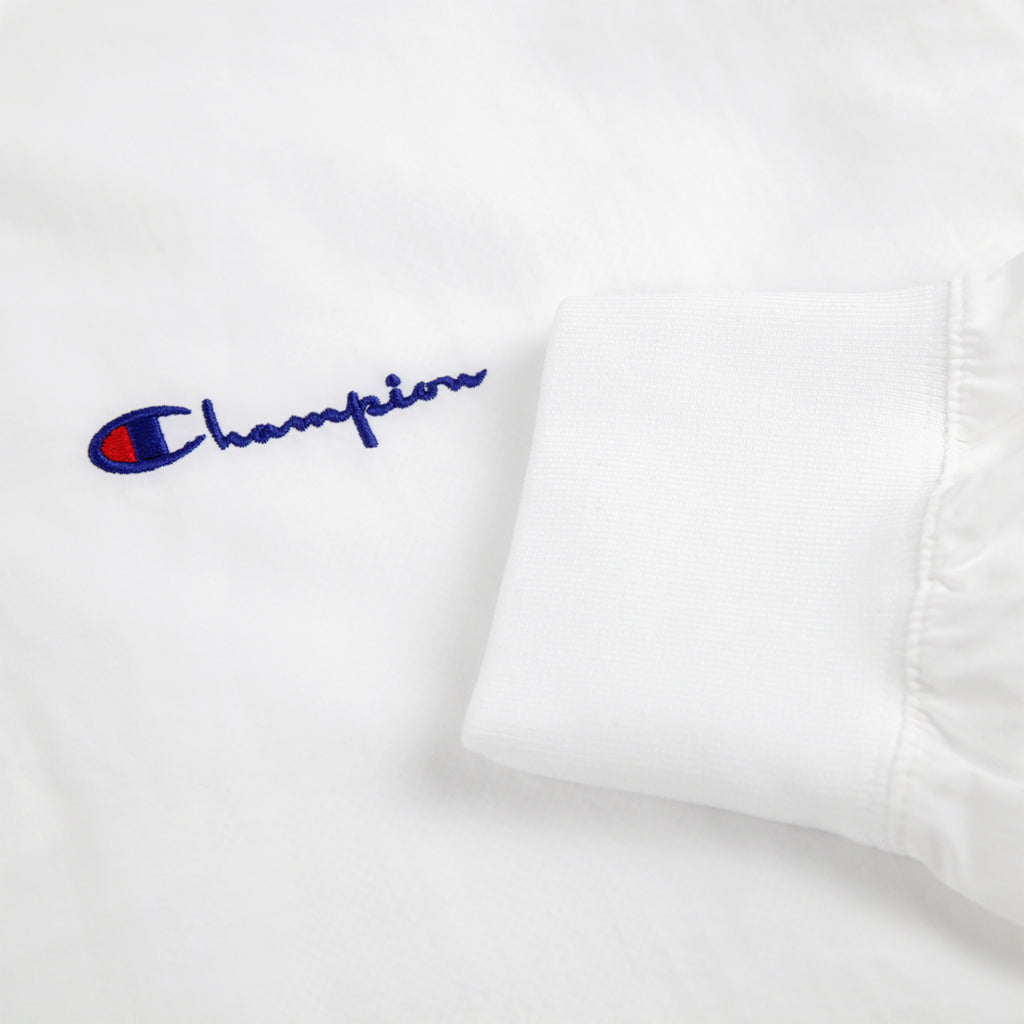 Champion Reverse Weave Half Zip Track Top in White - Cuff