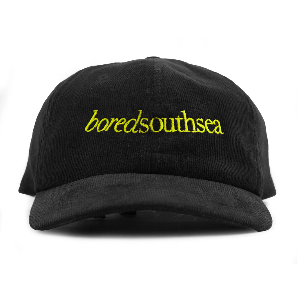 Bored of Southsea Hammer Cord Cap in Black / Yellow - Front
