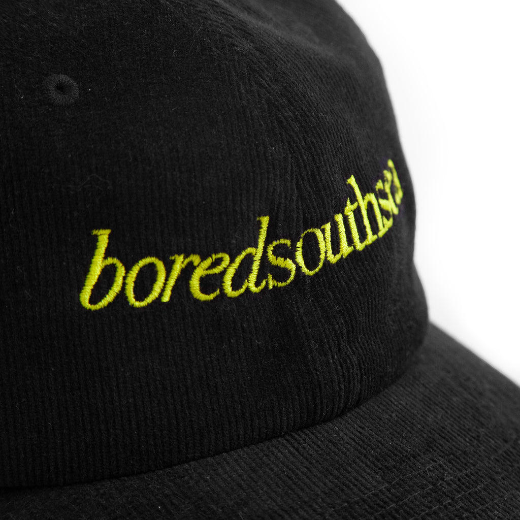 Bored of Southsea Hammer Cord Cap in Black / Yellow - Embroidery