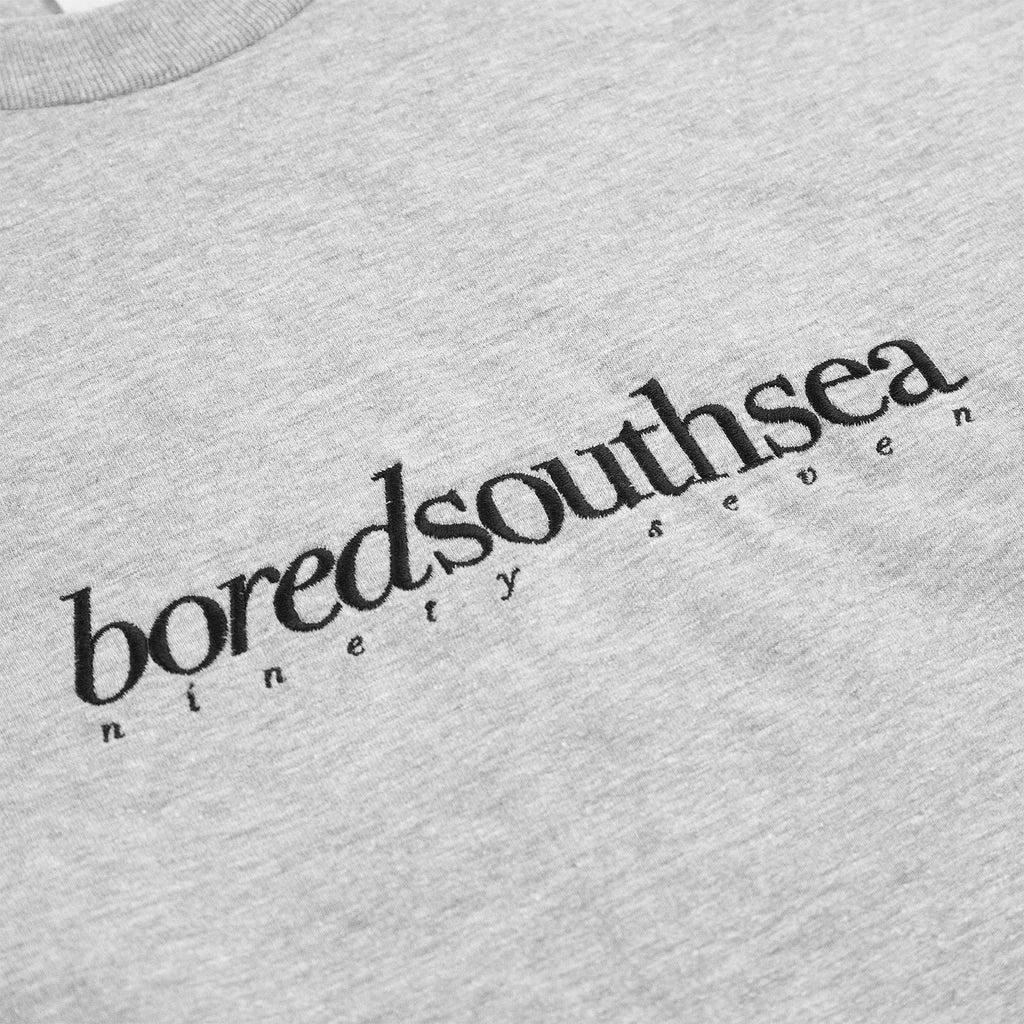 Bored of Southsea L/S Hammer T Shirt in Sport Grey / Black - Embroidery