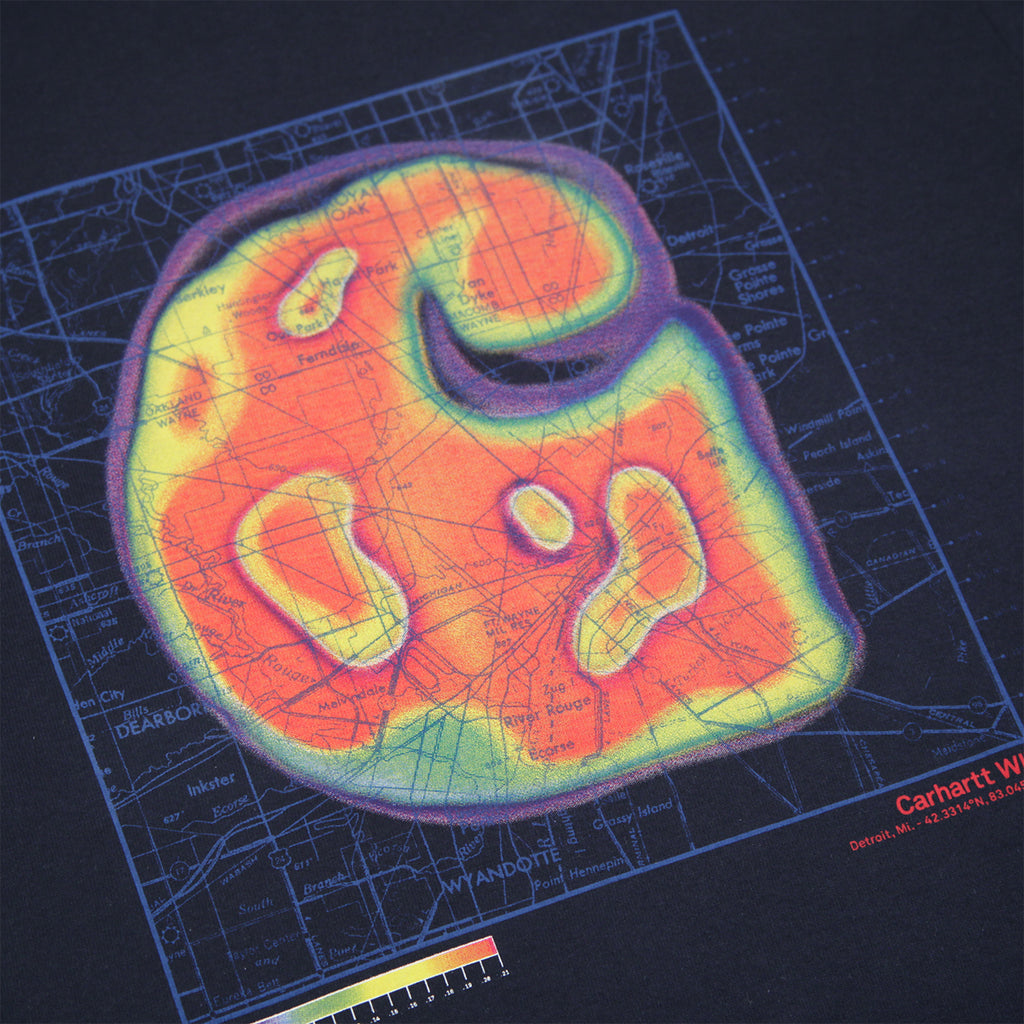 Carhartt Heatmap T Shirt in Dark Navy - Print