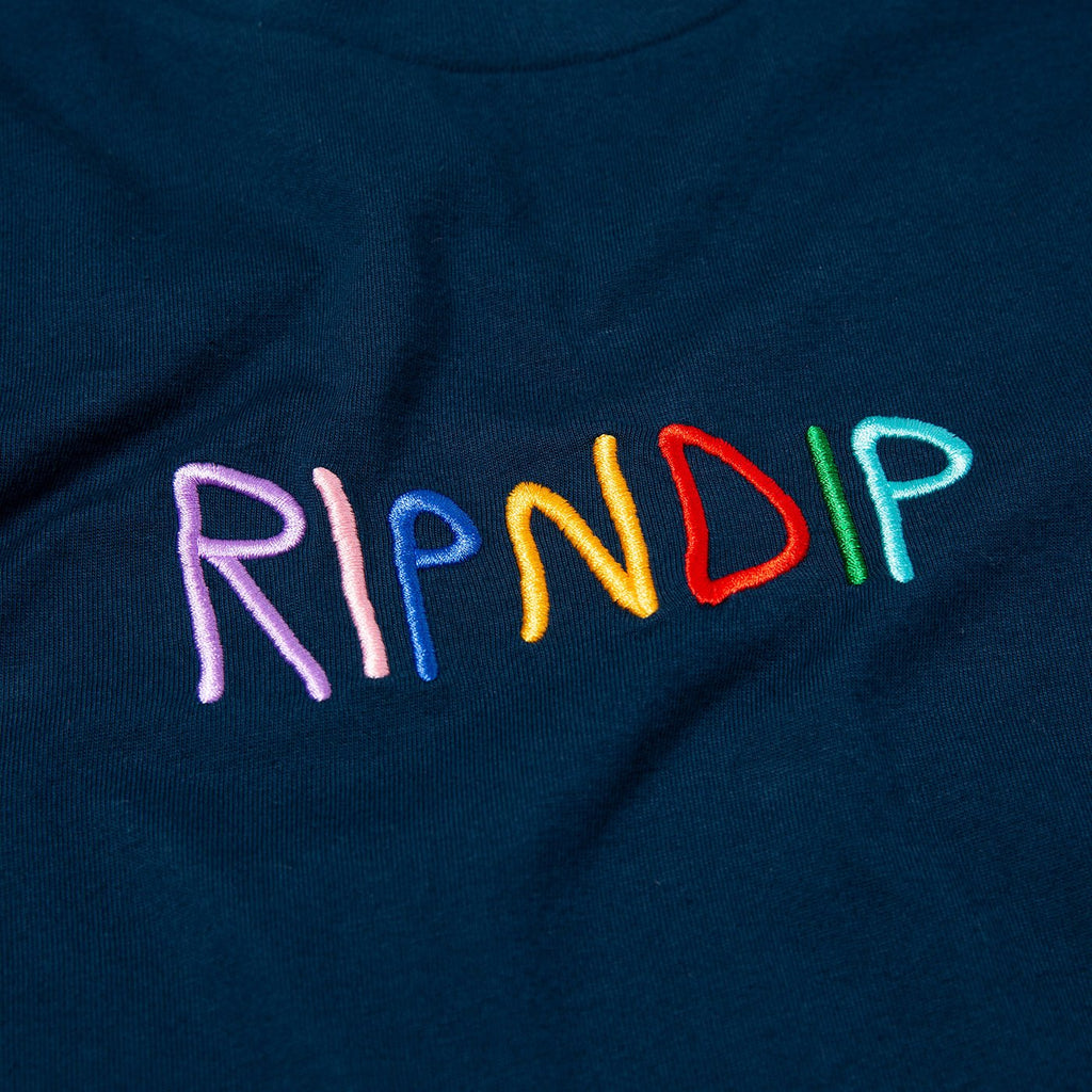 RIPNDIP Embroidered Logo T Shirt in Navy - Detail