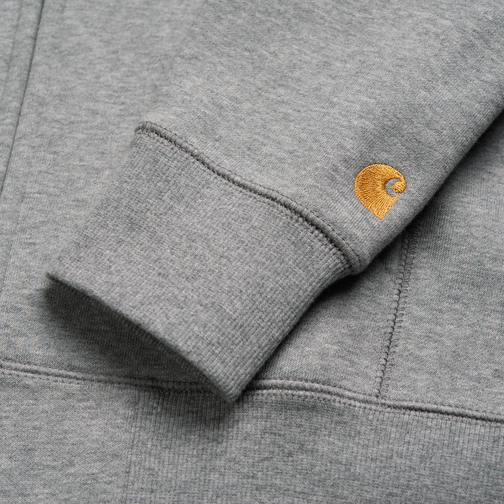 Carhartt WIP Hooded Chase Jacket in Grey Heather / Gold - Cuff