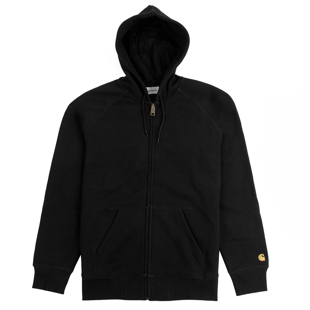 Carhartt WIP Hooded Chase Jacket in Black / Gold