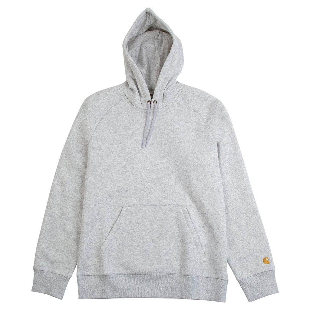 Carhartt WIP Hooded Chase Sweat Hoodie in Ash Heather / Gold