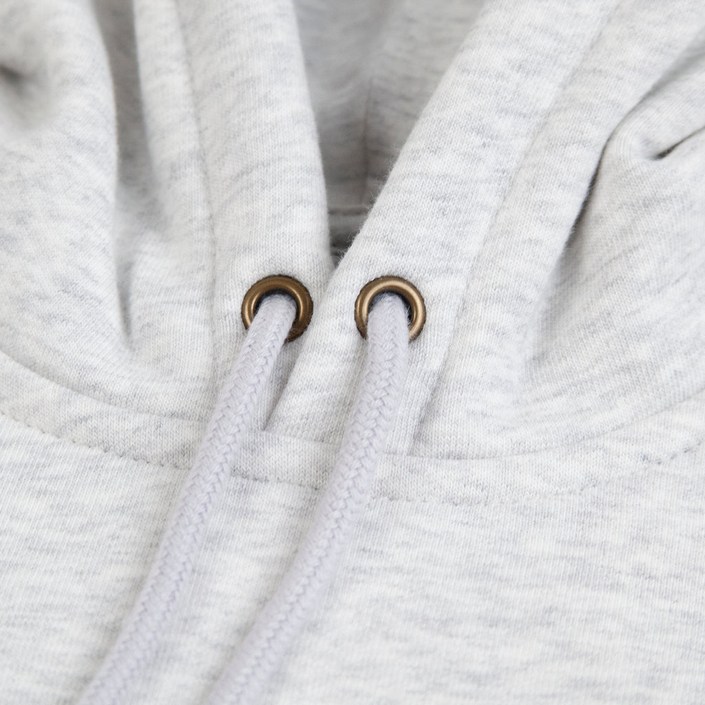 Carhartt WIP Hooded Chase Sweat Hoodie in Ash Heather / Gold - Drawstrings