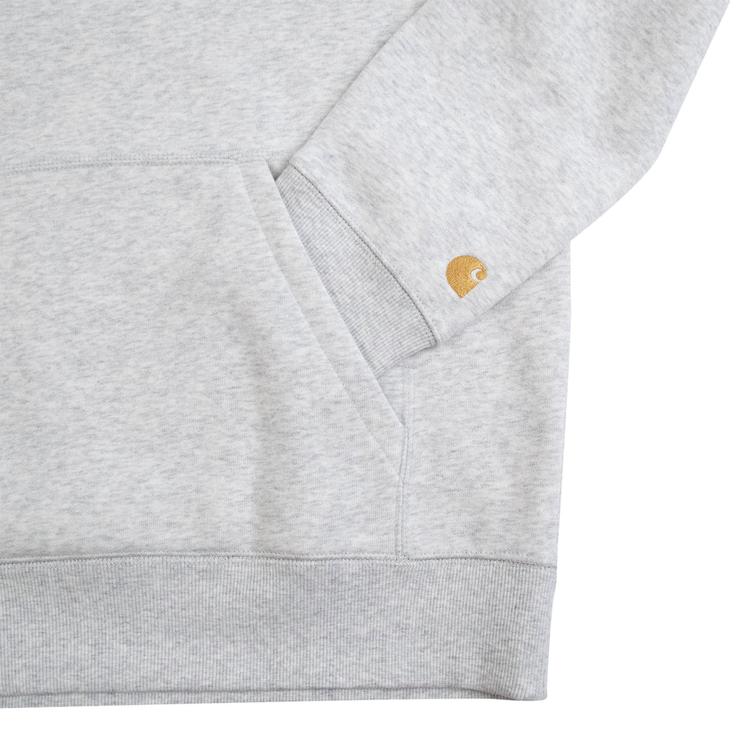 Carhartt WIP Hooded Chase Sweat Hoodie in Ash Heather / Gold - Pocket