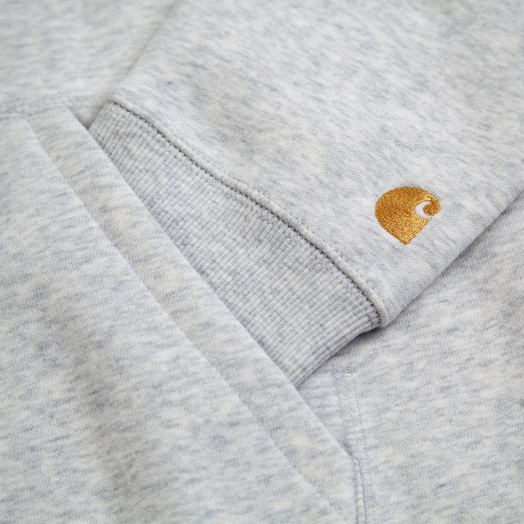 Carhartt WIP Hooded Chase Sweat Hoodie in Ash Heather / Gold - Logo