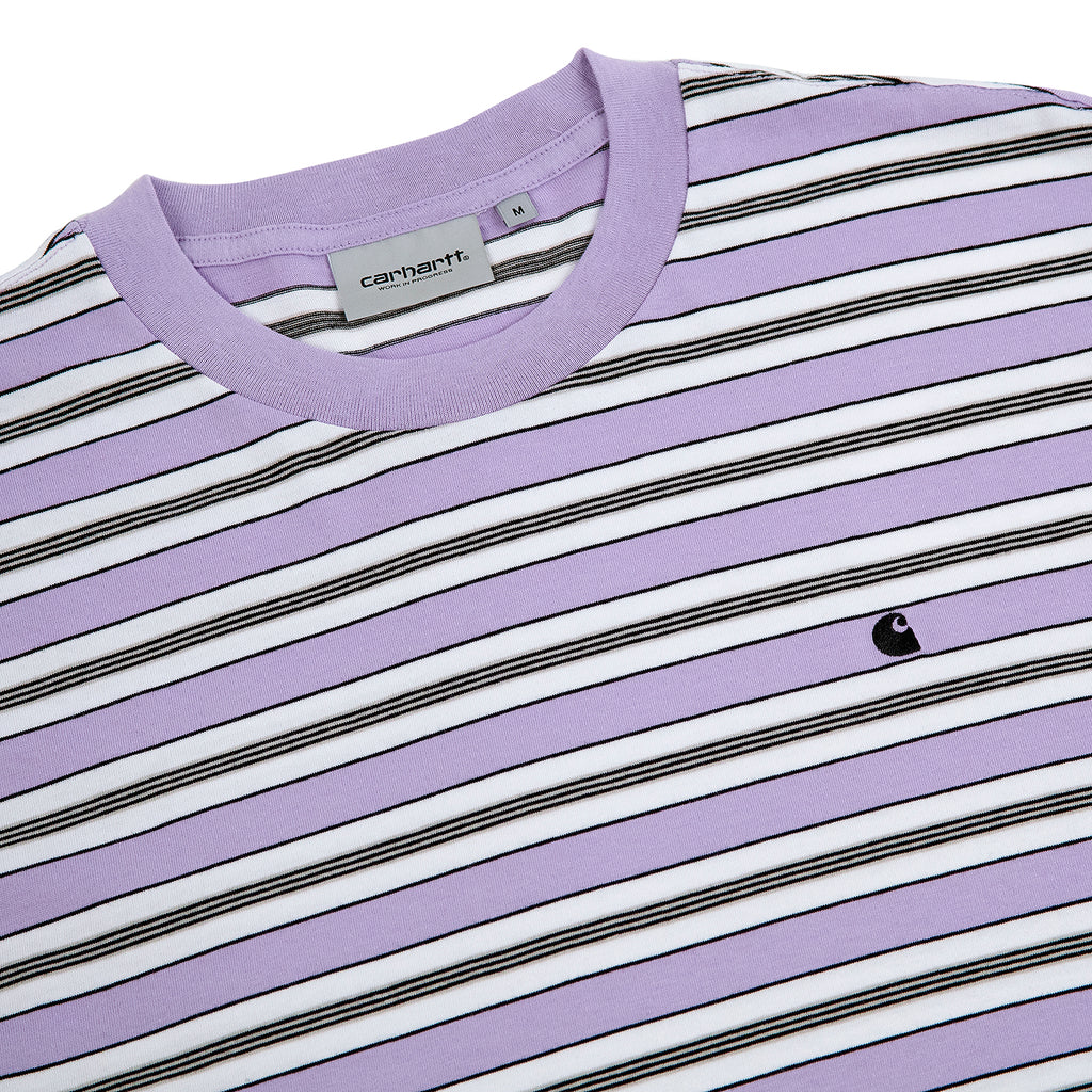 Carhartt Huron T Shirt in Soft Lavender / Black Stripe - Detail