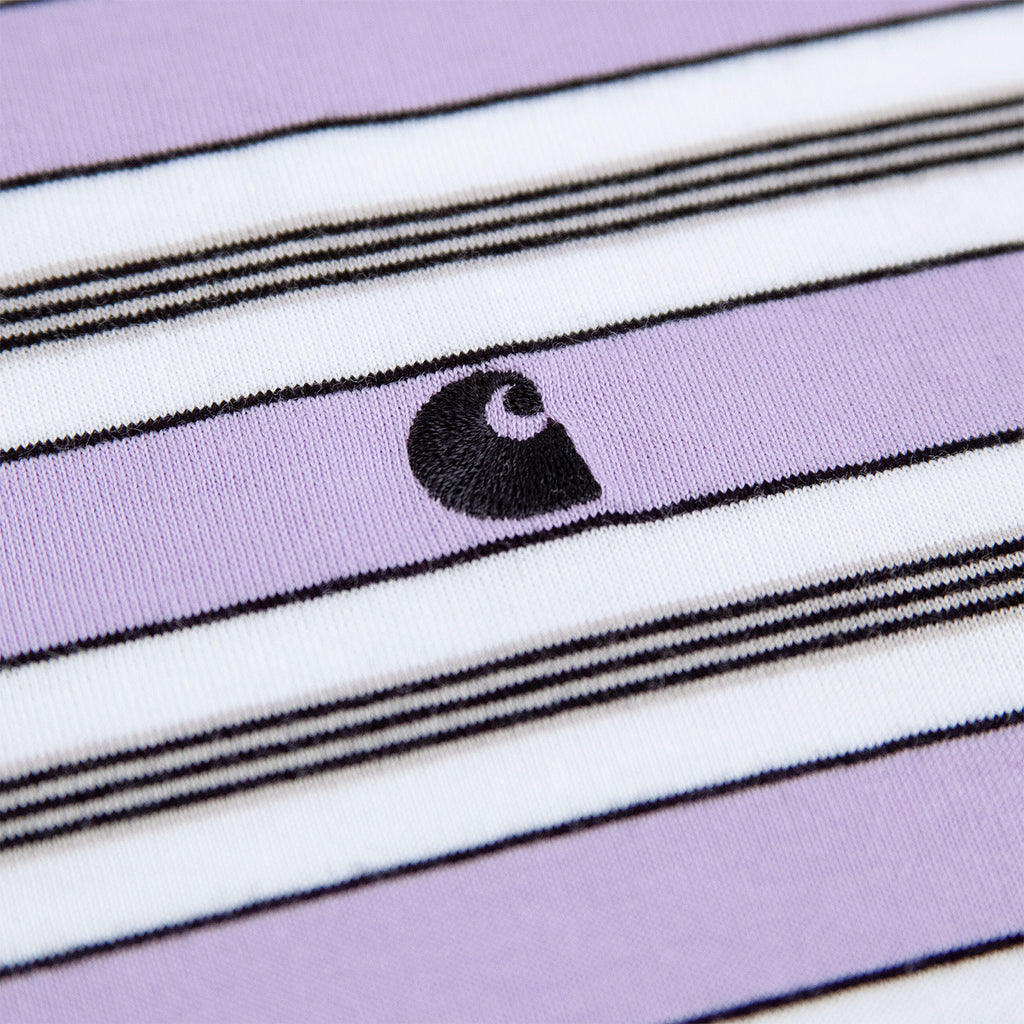 Carhartt Huron T Shirt in Soft Lavender / Black Stripe - Logo
