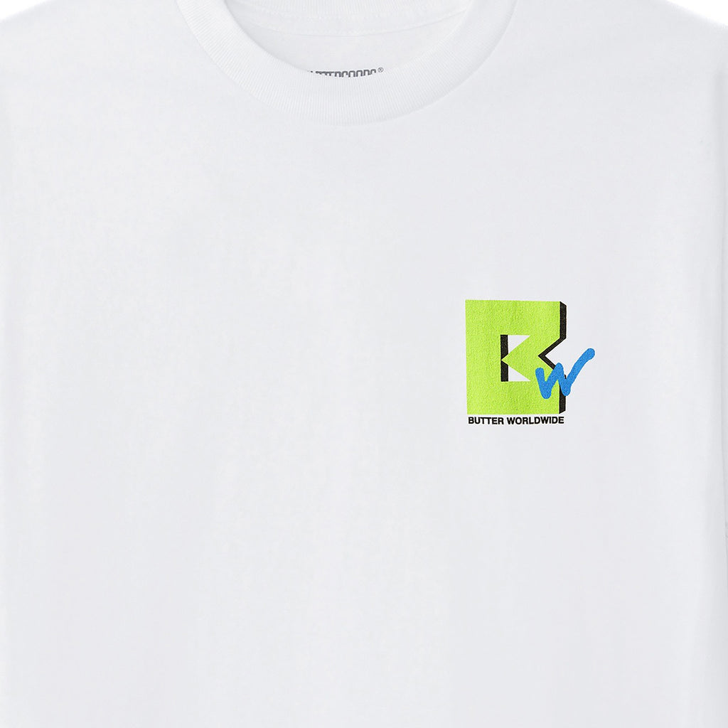 Butter Goods TV T Shirt in White - Front Detail