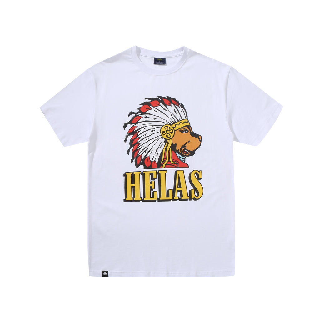 Helas Indian Dog T Shirt in White - Front