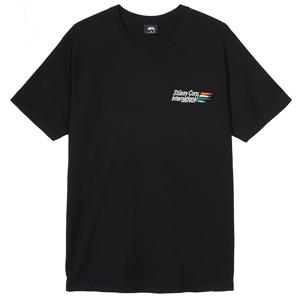 Stussy International Corp T Shirt in Black - Front