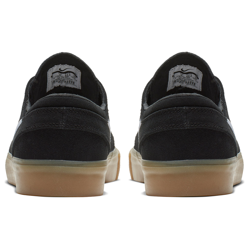 Nike SB Zoom Janoski Remastered Shoes in Black / White - Black - Gum Light Brown - Heel