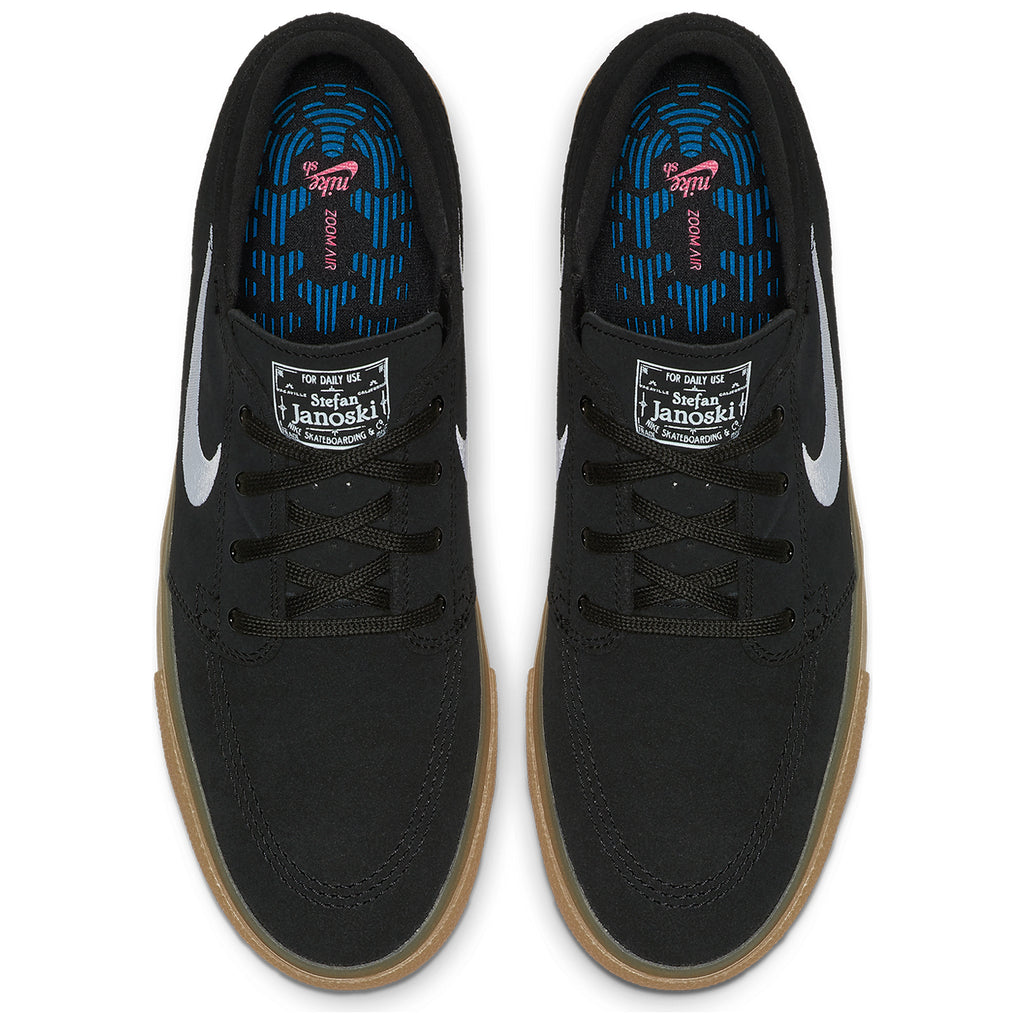 Nike SB Zoom Janoski Remastered Shoes in Black / White - Black - Gum Light Brown - Top