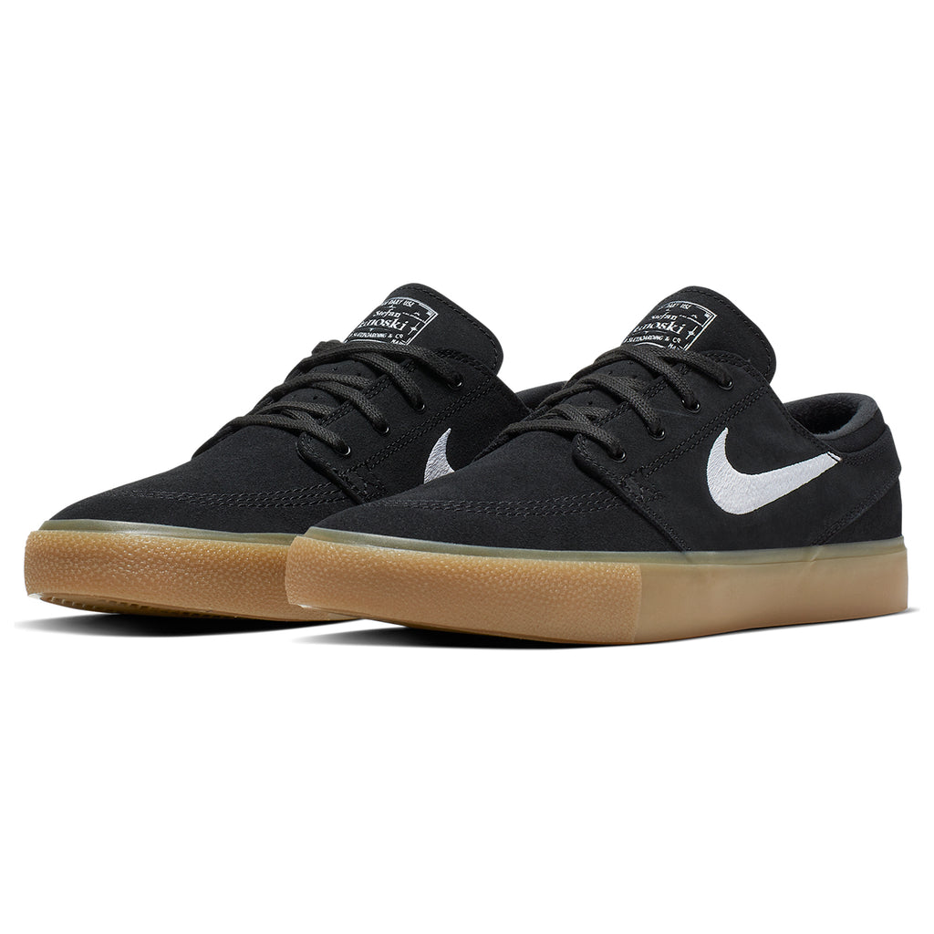 Nike SB Zoom Janoski Remastered Shoes in Black / White - Black - Gum Light Brown - Pair