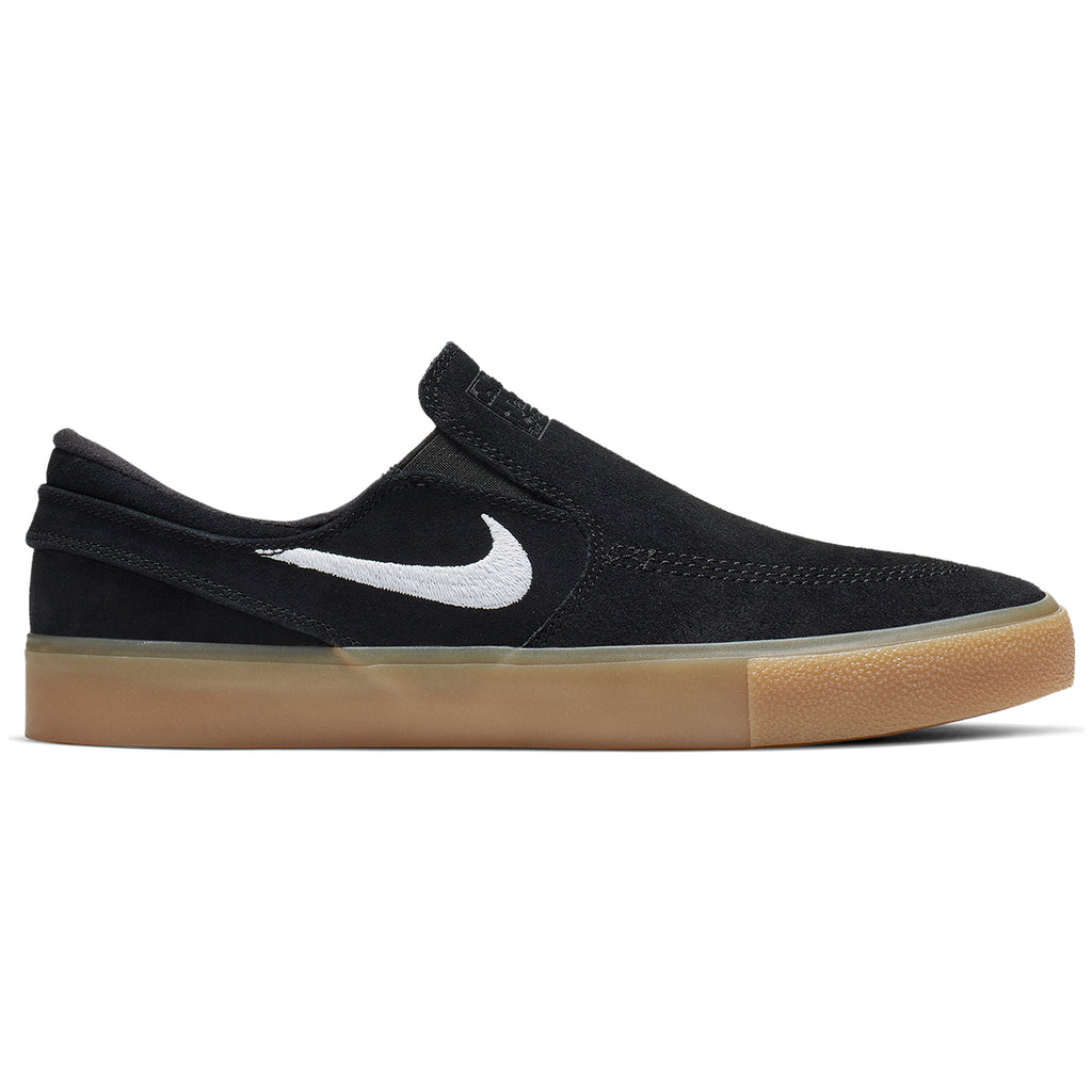 Nike SB Zoom Janoski Slip RM Shoes in Black / White - Black - Gum Light Brown