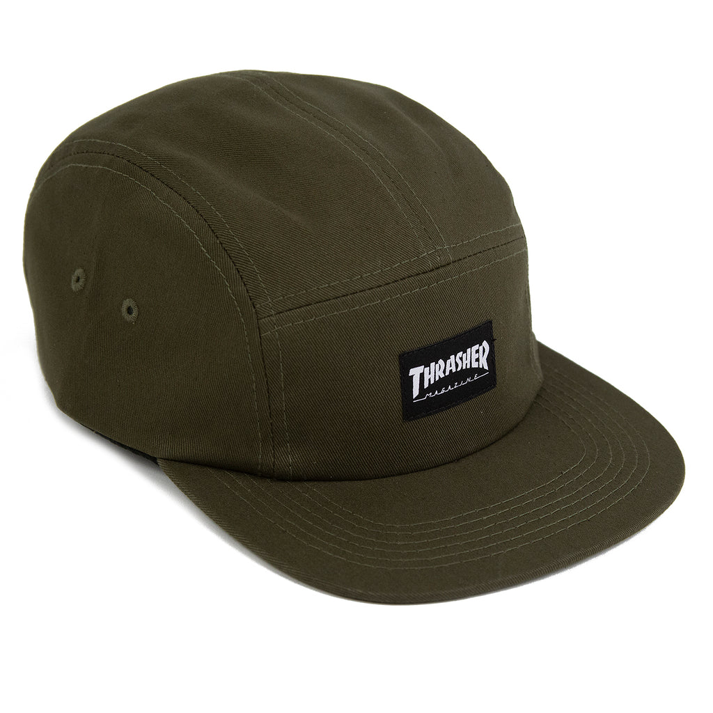 Thrasher 5 Panel Cap in Army