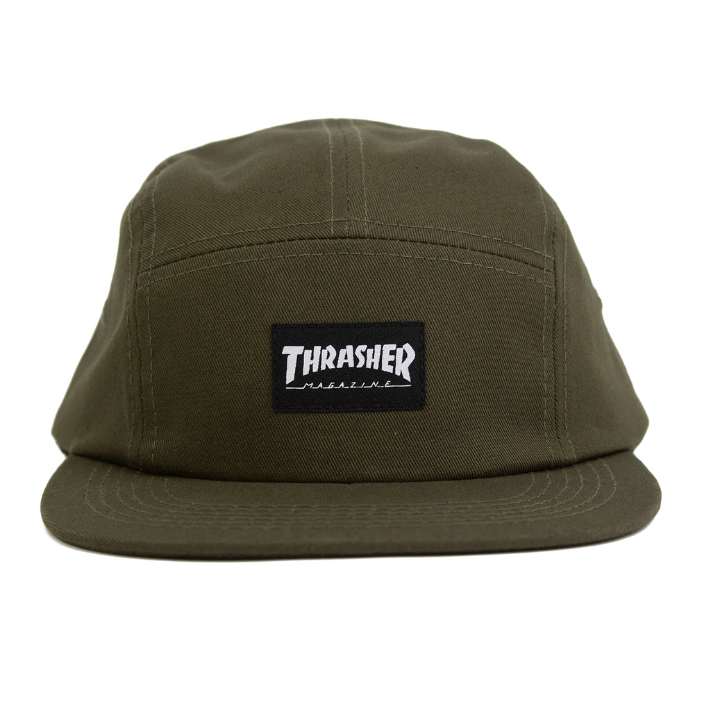 Thrasher 5 Panel Cap in Army - Front