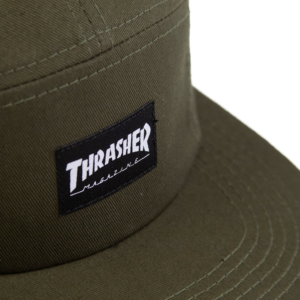 Thrasher 5 Panel Cap in Army - Label