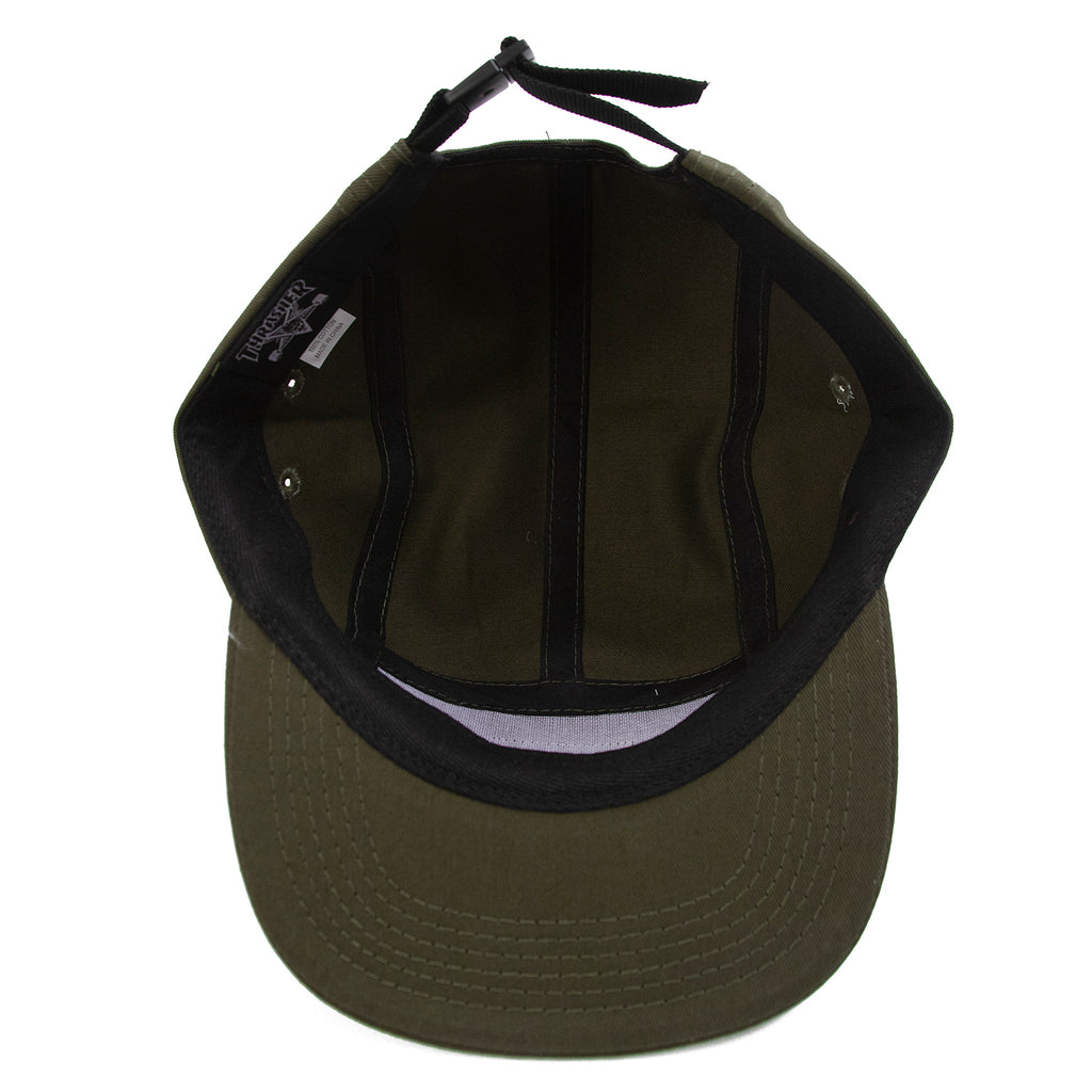 Thrasher 5 Panel Cap in Army - Inside