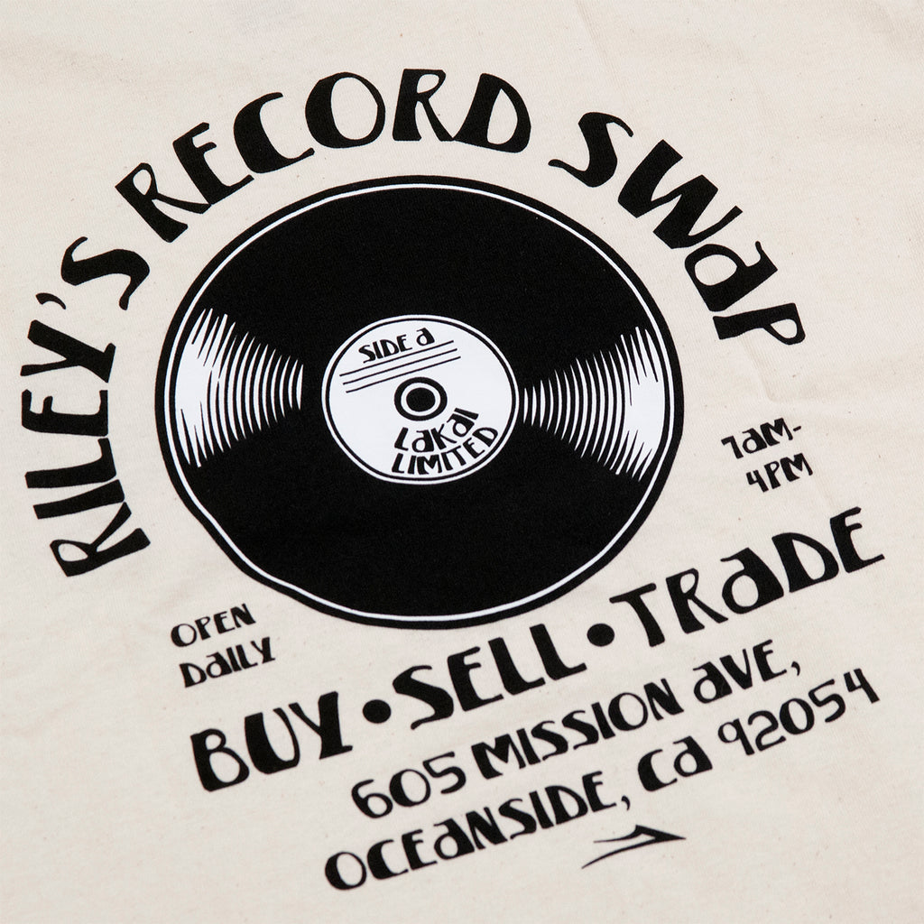 Lakai Rileys Record Swap T Shirt in Cream - Print