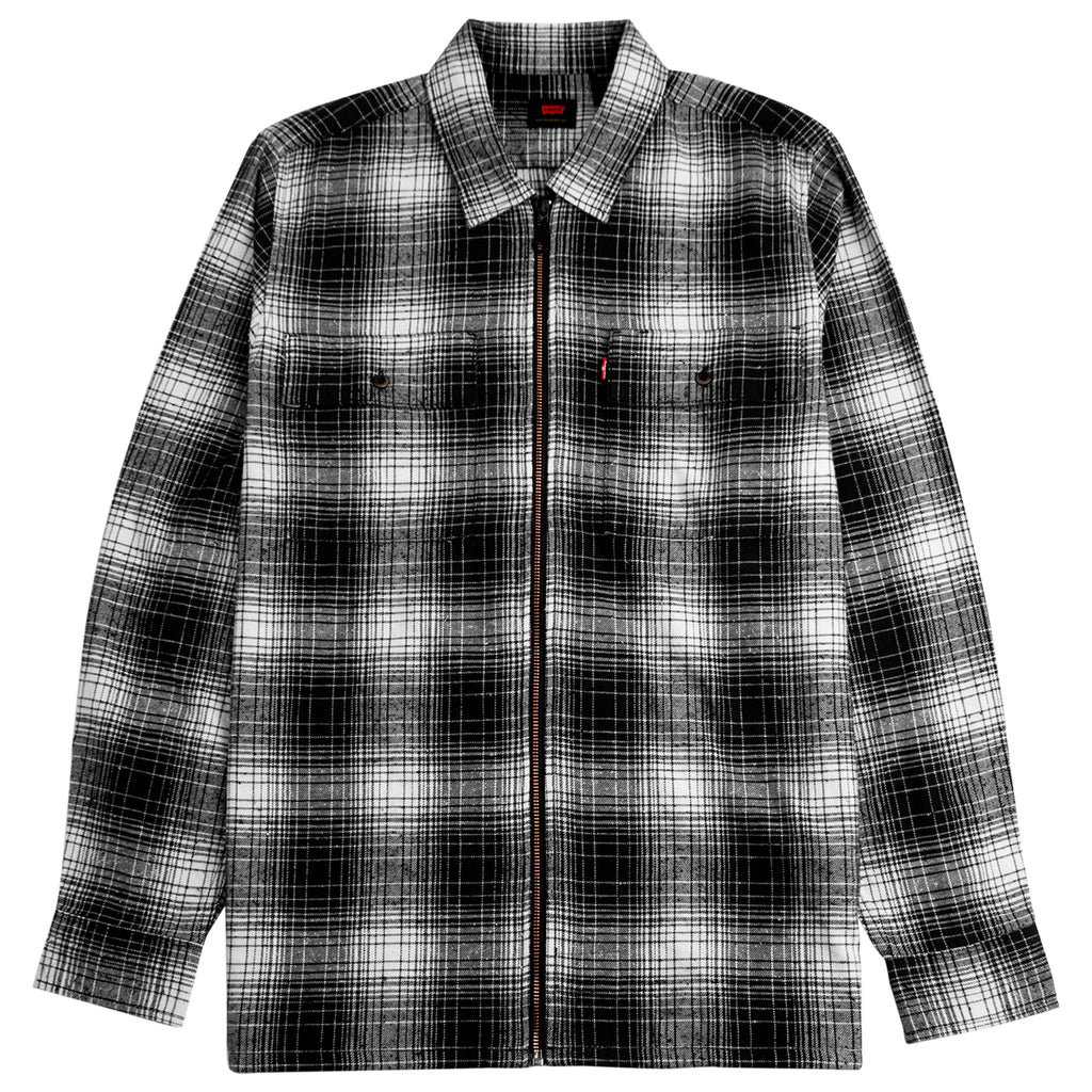 Levis Skateboarding Skate Zip Work Shirt in Adriel Jet Black Plaid