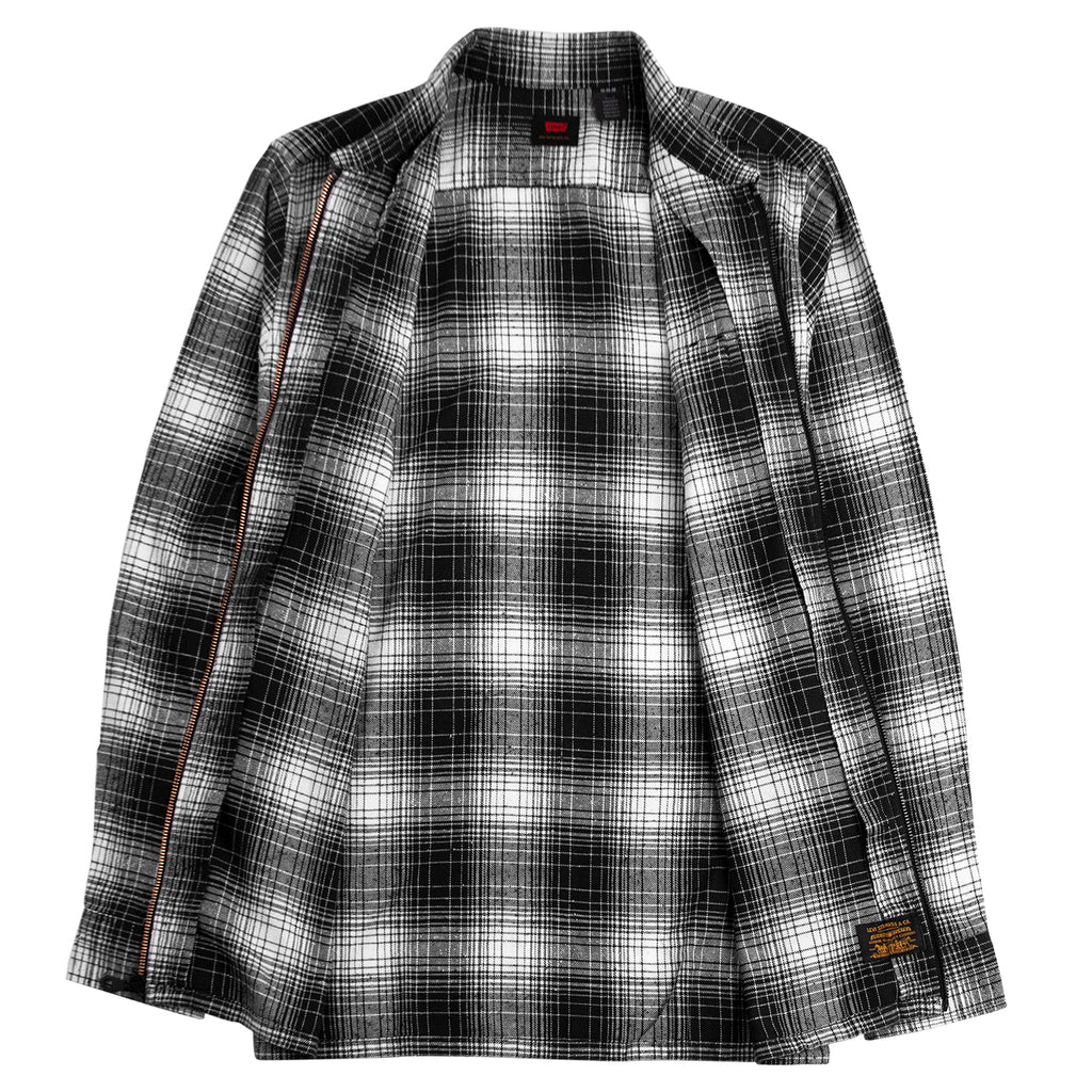 Levis Skateboarding Skate Zip Work Shirt in Adriel Jet Black Plaid - Open