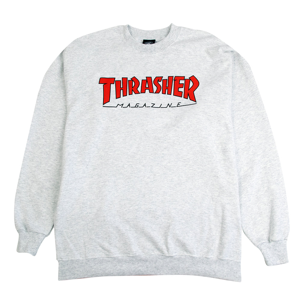 Thrasher Outlined Crew Sweatshirt in Ash Grey