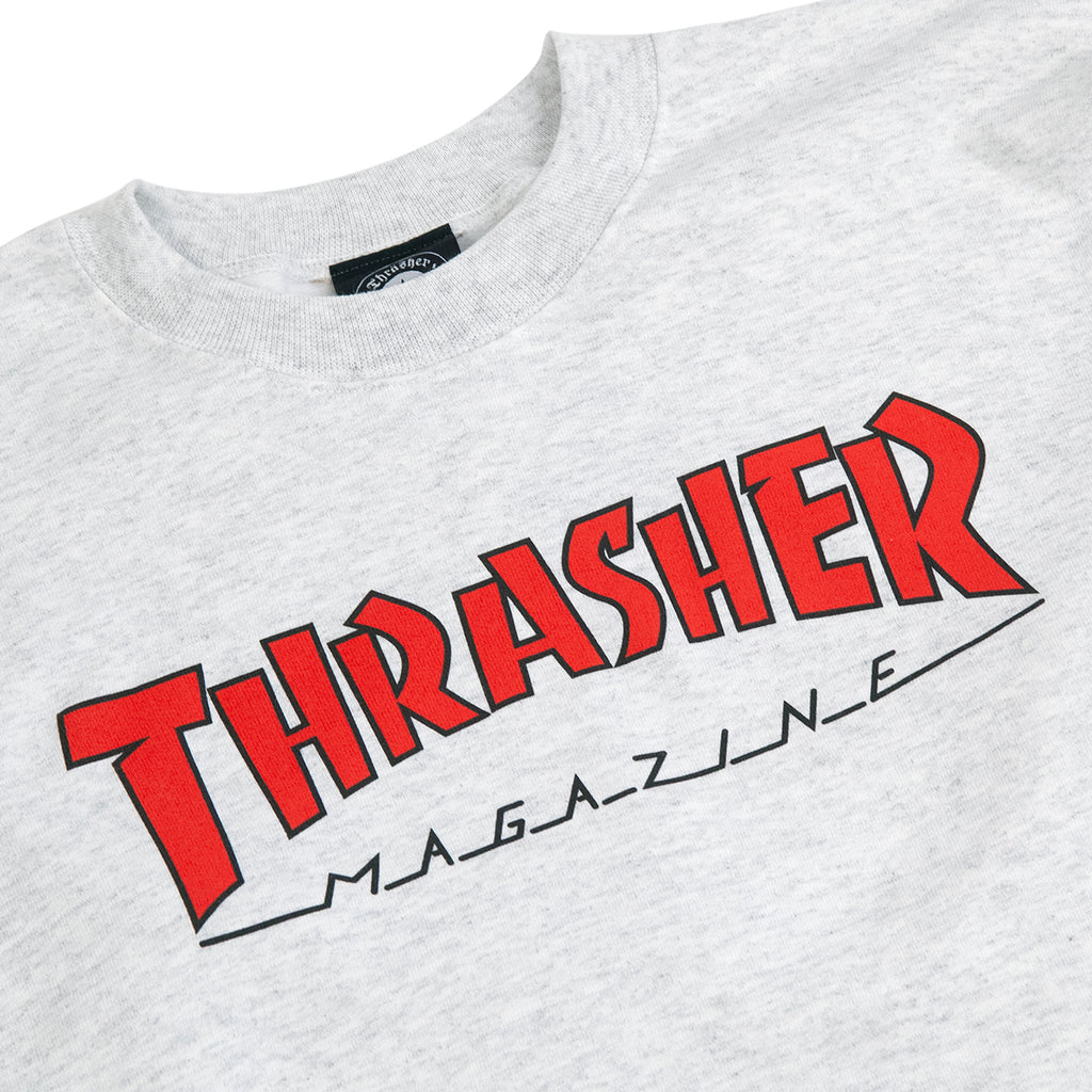 Thrasher Outlined Crew Sweatshirt in Ash Grey - Detail