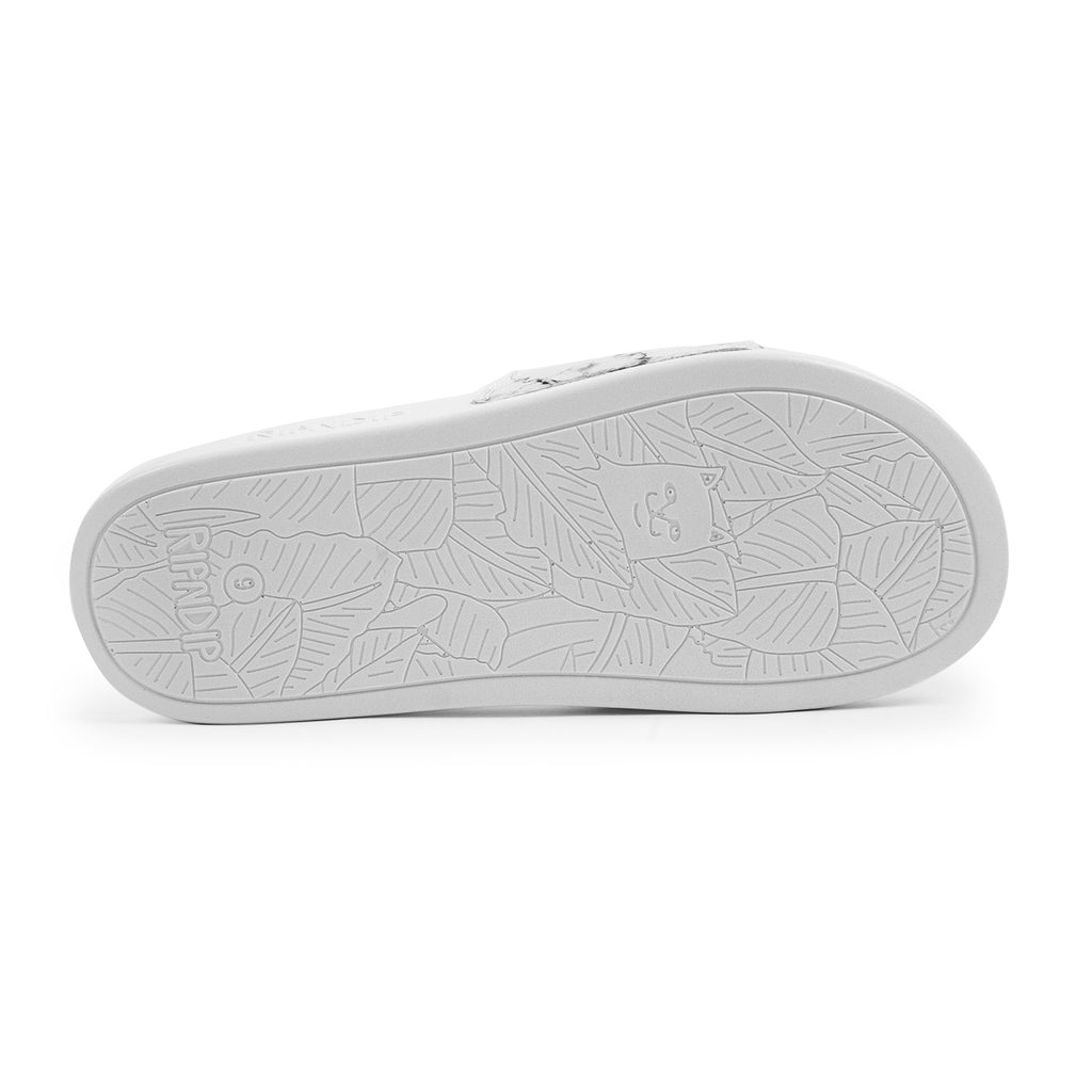 RIPNDIP Lord Nermal Slides in White Marble - Sole