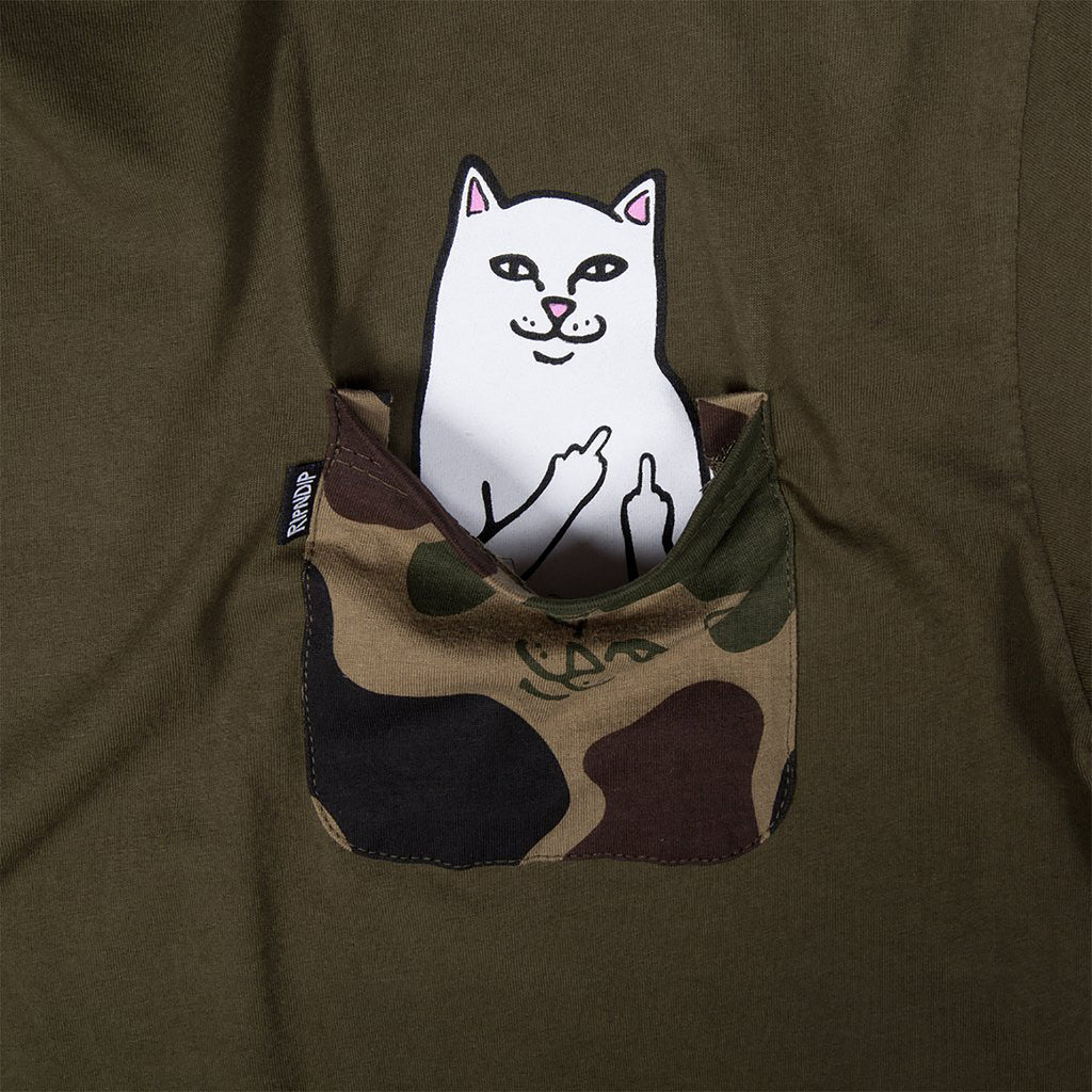 RIPNDIP Lord Nermal Pocket T Shirt in Army Camo - Pocket