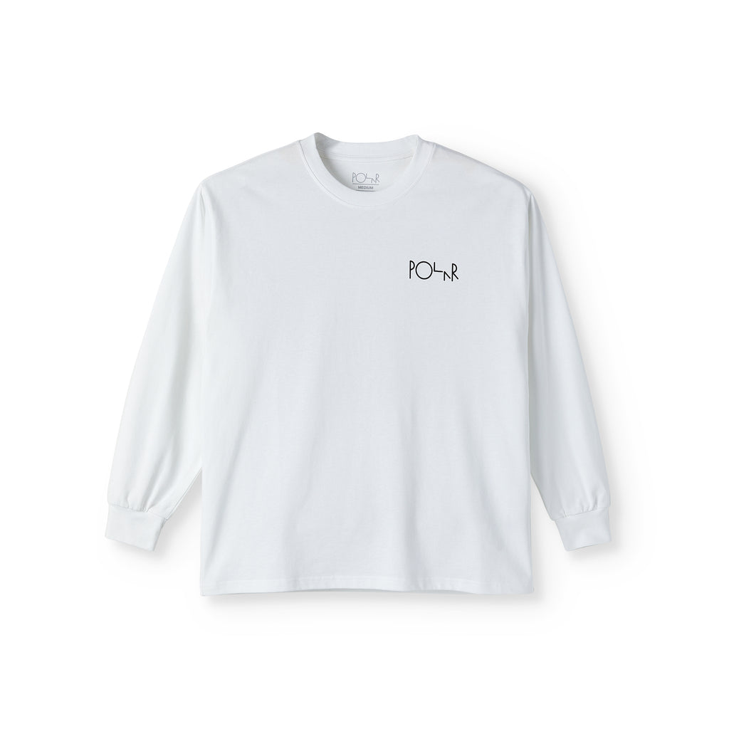Polar Skate Co L/S Memory Palace Fill Logo T Shirt in White - Front