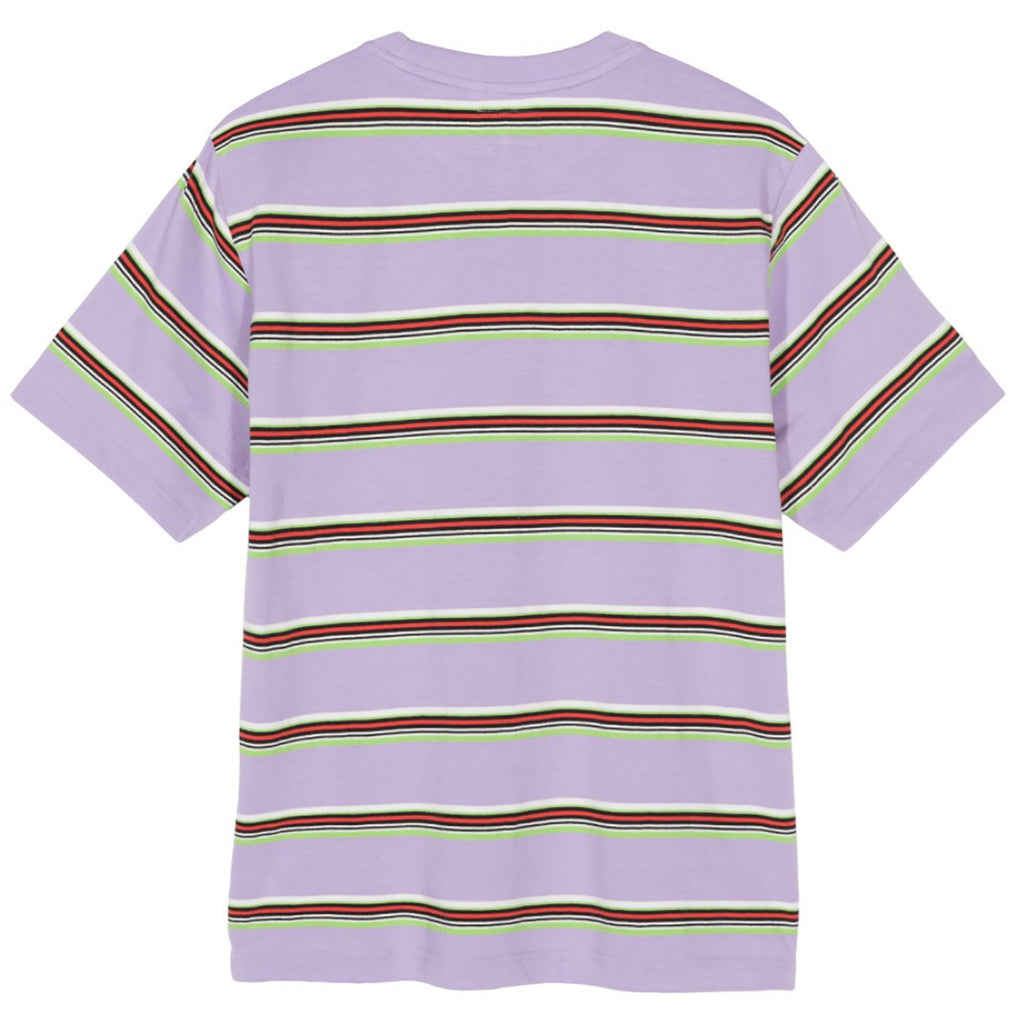 6af55064f7 Malcom Stripe Crew T Shirt in Lavender by Stussy | Bored of Southsea