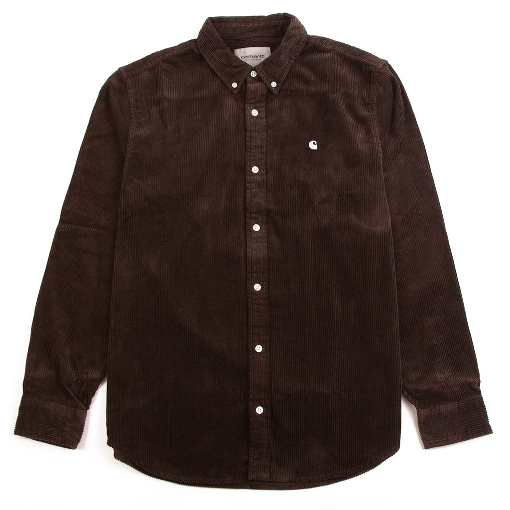 Carhartt WIP L/S Madison Cord Shirt in Tobacco / White