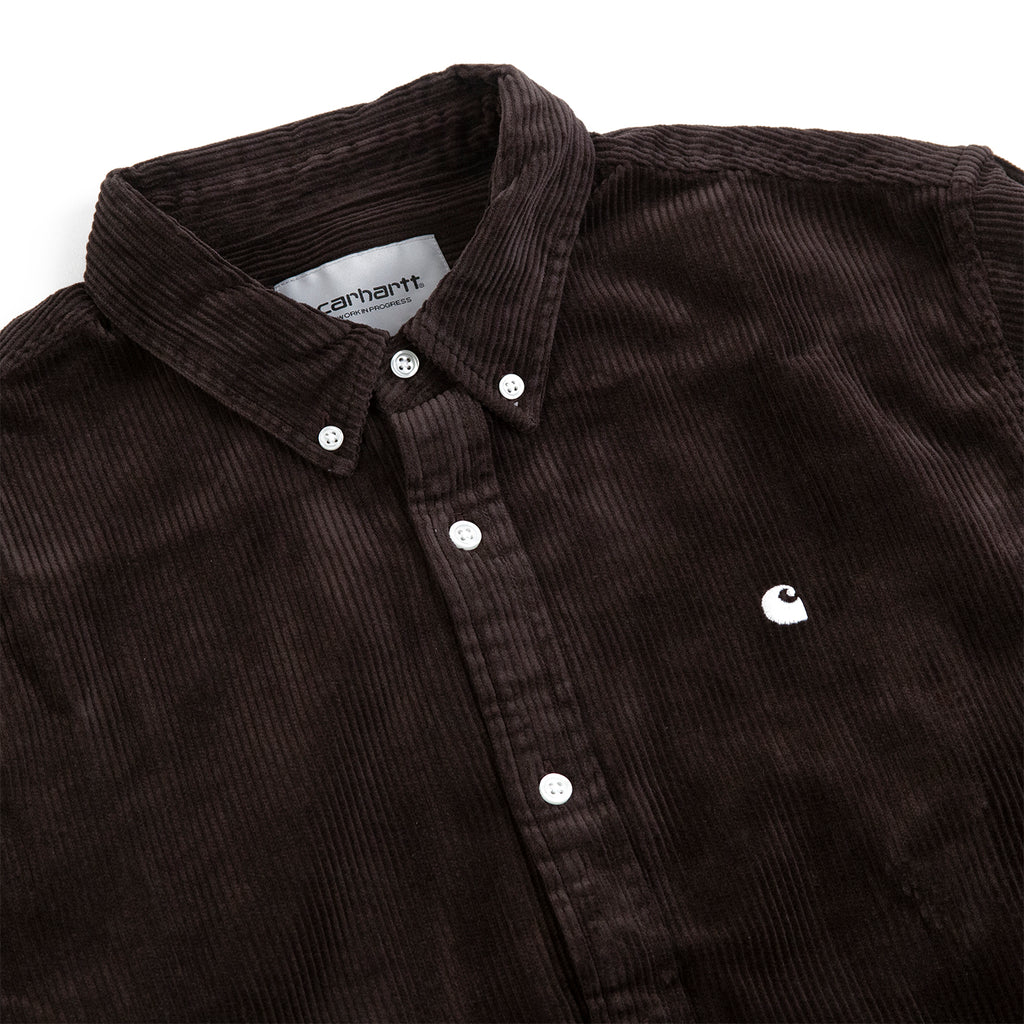 Carhartt WIP L/S Madison Cord Shirt in Tobacco / White - Detail